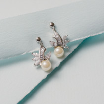 Heather Glass Pearl and Austrian Crystal Earrings