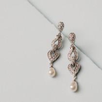 Amanda Faux Pearl  and Austrian Crystal Earrings