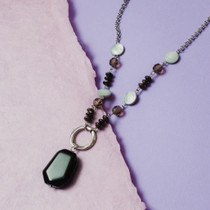 Ebony Gems Onyx and Mother-of-Pearl Necklace