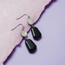 Ebony Gem Onyx and Mother-of-Pearl Earrings