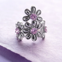 Pink Daisy Flower Ring Austrian Crystals
