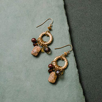 Genuine Picture Jasper Earrings