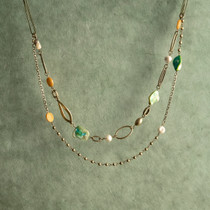 Evergreen Mist Genuine Mother of Pearl and Glass Bead Necklace