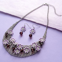 Purple Flower and Clear Crystal Statement Necklace and Earring Set
