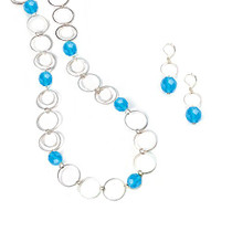 Blue Faceted Glass Bead Necklace and Earring Set