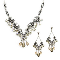 Vintage Style Necklace and Earring Set with Black Diamond Crystals and Aurora Borealis Beads