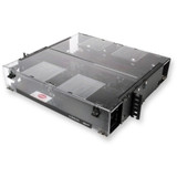 Corning Cable Systems Closet Connector Housings. 2 Rack Unit that holds 4 CCH connector panels, cassettes or modules. Interconnect and cross-connect capability. Comes with blank panels and hardware to strain-relieve cables internally or externally.