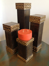 Studded wood Candle Holders (SET OF 4)