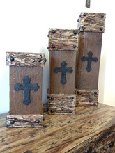 Cross Detailed Wood Pillar Candleholders