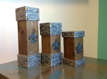 Wood Pillar Candleholders, Fleur de Lis