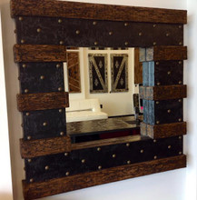 Faux Wood Mirror with Decorative Nails