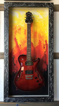 Guitar Display Case, Shadow box, Guitar mount, Guitar wall hanger, Guitar holder, Guitar accessories, Music accessories, Guitar frame, Guitar decor, JeLis Decor, DisplayMyGuitar.com  Lake of fire, Lake of fire G-Frame