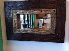 Faux Hand Carved Wood Mirror
