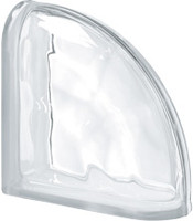 Pegasus Neutro End Curved Wavy Glass Block