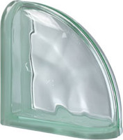 Pegasus Green End Curved Wavy Glass Block