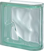 Pegasus Green End Linear Wavy Glass Block