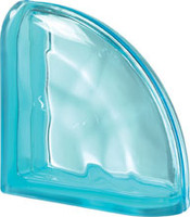 Pegasus Aquamarine End Curved Wavy Glass Block