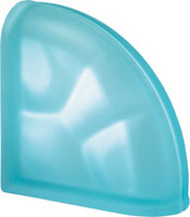 Pegasus Aquamarine End Curved Satin Glass Block
