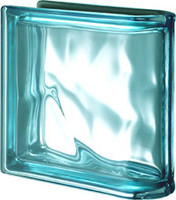 Pegasus Metalized Aquamarine End Linear Wavy Glass Block