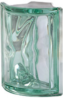 Pegasus Metalized Green Corner Wavy Glass Block
