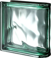 Pegasus Metalized Green End Linear Wavy Glass Block