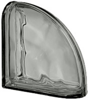 Pegasus Metalized Nordica End Curved Wavy Glass Block