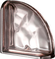 Pegasus Metalized Pink End Curved Wavy Glass Block