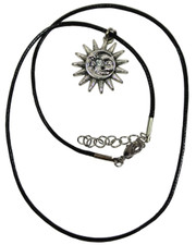 Sun moon face. Wax cord necklace.