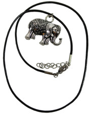 Wax Cord Necklace with 3D Indian Elephant Pendant.