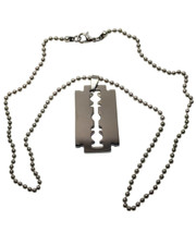 "Razor Blade Stainless Steel Pendant Necklace. 20"" Ball Chain."