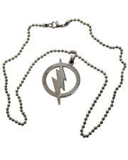 "Flash Style Stainless Steel Pendant. 20"" Ball Chain."