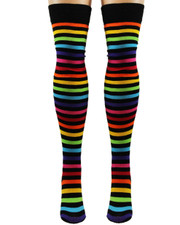 Over The Knee Socks. Rainbow and Black Stripe.