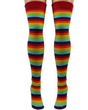 Over The Knee Socks. Rainbow and Red Stripe.