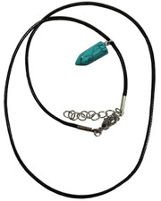 Wax Cord Necklace with Turquoise Crystal Bullet Pendant.