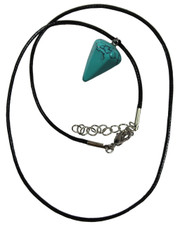 Wax Cord Necklace with Turquoise Crystal Pendulum Pendant.