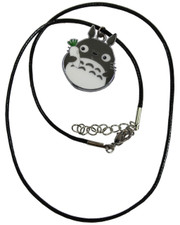 Wax Cord Necklace with Totoro-Style Enamelled Pendant
