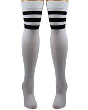 Referee Socks. White with Black Stripes