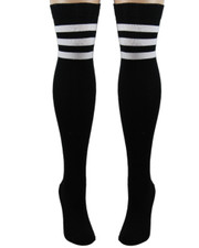 Referee Socks. Black with White Stripes