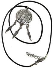 Flower of Life Dreamcatcher Black Wax Cord Necklace.