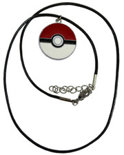 Pokeball Pendant. Wax cord necklace