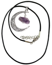 Moon with amethyst crystal necklace