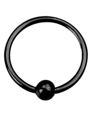 Black PVD Coated Open Ring With Ball. Full ring, 925 Silver.