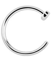Silver Open Nose Ring With Disc Stopper.