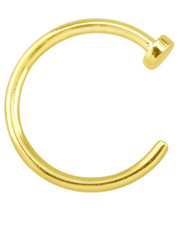 Gold Plated Open Nose Ring With Stopper. 925 Silver.