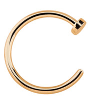 Rose Gold Plated Open Nose Ring With Stopper. 925 Silver.
