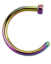 Disc Stopper Open Nose Ring. Surgical Steel  Rainbow Coloured. Gauge 1mm.