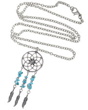 Mandala Dreamcatcher Necklace. Turquoise Semi Precious Stone Chips.