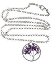 Wire Wrapped Tree Of Life Necklace. Amethyst Crystal Chips.