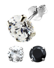 Round Claw-Set Crystal Ear Stud. 925 Silver. Various Sizes . Clear or Black.