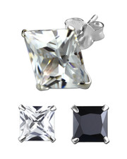 Square Claw-Set Crystal Ear Stud. 925 Silver. Various sizes . Clear or black.
